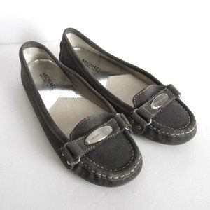 MICHAEL KORS Leather Suede Loafers Grey Shoes sz 7